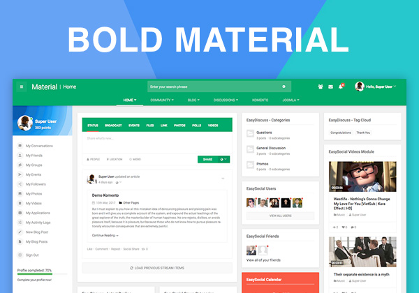 Bold Material Has Arrived Say Hello To Our Most Ful Community Intranet Joomla Template