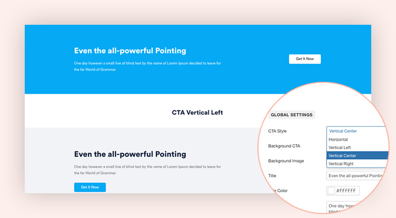 Supported popular layout CTA