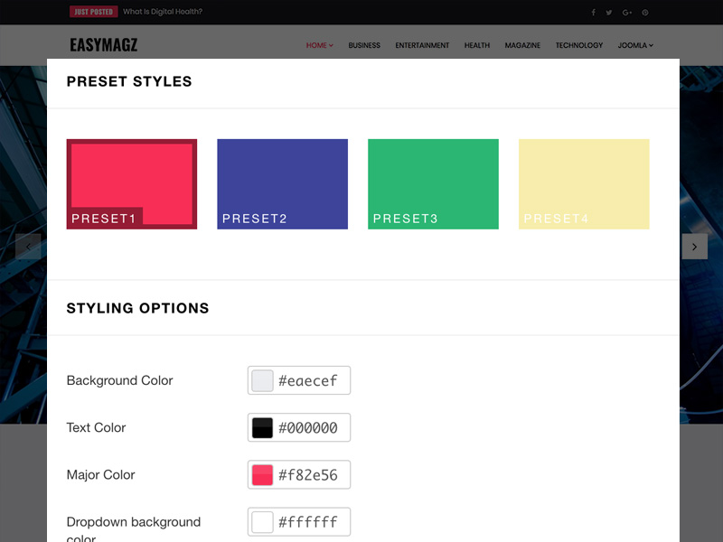 4 customizable color presets